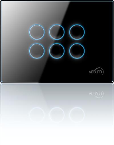 Mặt công tắc sáu nút không dây Vitrum - chuẩn EU