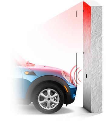 Bạn có thể lắp đặt các đèn LED  trong garage, cường độ và màu sắc các đèn này sẽ thay đổi theo khoảng cách của xe bạn đến tường