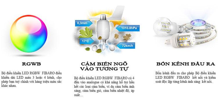 Bộ điều khiển LED RGBW  FIBARO là một thiết bị không dây tiên tiến điều khiển 4 dải màu  đèn LED.