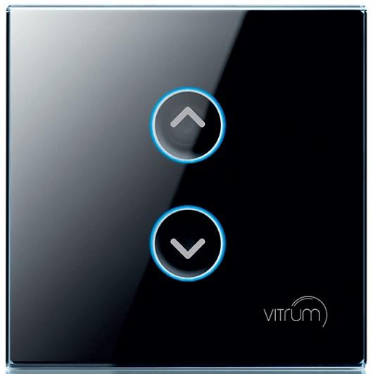 Mặt công tắc hai nút điều khiển rèm, cửa cuốn không dây Vitrum - chuẩn BS