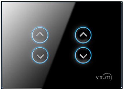 Mặt công tắc bốn nút điều khiển rèm, cửa cuốn không dây Vitrum - chuẩn EU